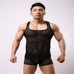 Wholesale Men S Sexy Underwear Fishnet - Wholesale- Men Sexy Men's Underwear Vest Lingerie,Sexy FishNet Tank Top