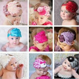 Wholesale Wholesale Curled Feather Headbands - Toddler Baby Headwear Girl Headband Rhinestone Bowknot Curling Feather Headwrap Brand New Good Quality Free Shipping