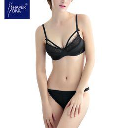 Wholesale Shape Lingerie - Burvouge Shaper diva Hot Sale Push Up Bra+ panties Deep U Plunge Shaped lace bra set lingerie female sexy bra underwear Set for Women