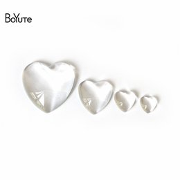 Wholesale Glass Spacers - BoYuTe 100Pcs Heart Clear Glass Cabochon 8MM 10MM 12MM 16MM 18MM 25MM 30MM 35MM Glass Dome Diy Accessory Jewelry