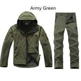 Wholesale Camouflage Waterproof Hunting Jacket - Shark Skin Outdoor Hunting Sets Men Sport Softshell Tactical Camouflage Hunting Clothes Outdoor Suits Jackets Pants Mens Hunting Sets