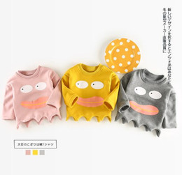Wholesale Girls Solid Yellow Hoodie - 2017 Ins fall kids girl boy Hoodies cartoon big eye print 100% cotton child pulloverer Hoodies & Sweatshirts with cloud accessary 3 color