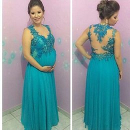 Wholesale Top Dress For Pregnant - Elegant Evening Dresses For Pregnant Women 2016 Top With Appliques Bead Chiffon Robe De Soiree Longue See Though Back Sexy Long Prom Gowns