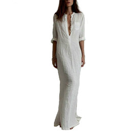 Wholesale White Linen Maxi Dress - Fashion Vestidos 2016 Summer Women Sexy Dress Long Sleeve Deep V Neck Linen Split Solid Long Maxi Dress Plus Size free shipping