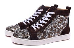 Wholesale Crystal Leopard Shoes - New Fashion Mens Womens Crystal Leopard Big Rhinestones Red Bottom High Top Sneakers,Design Brown Matter Leather Casual Sports Shoes 36-46