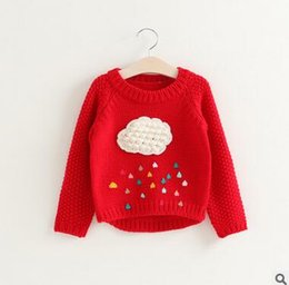 Wholesale Cartoon Sweater Kids - Kids knitting sweater girls cotton clouds drip-drop cartoon long sleeve pullover new spring children Korean style clothing C0437