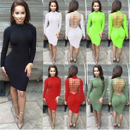 Wholesale Black Cage Dress - Vestidos Sexy Club Stretch Laced Back Cage Winter Party Dresses Black Night Wear Criss Cross Warm Cotton Bandage Bodycon Dress