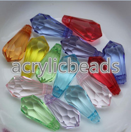 Wholesale Acrylic Faceted Beads - High Quality 5*12MM Transparent Faceted Acrylic Spacer Crystal Top Drilled Teardrop Beads Clear Diamond Shaped Pendant for Jewellery Findi