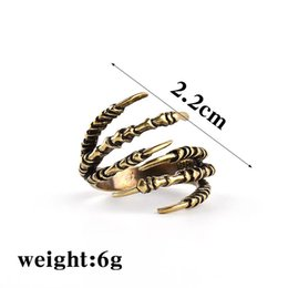 Wholesale Eagle Claw Rings - Plated copper vintage alloy Dragon Matsudana Alondra Squama scale hawk eagle paw ring children Ghost claw ring opening talon rings 2017 j196
