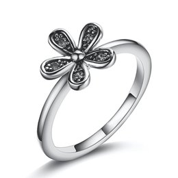 Wholesale European Ring Charm - Fashion 925 Sterling Silver Flowers With Crystal European Charms Pandora Jewelry Rings For Women Birthday Wedding Anniversary Gift 146