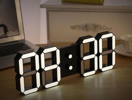 Wholesale Watch Digital Led Wall - Creative Remote Control Large LED Digital Wall Clock Modern Design Home Decor 3d Decoration Big Decorative Watch White   Black