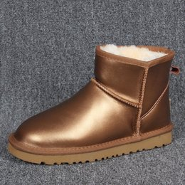 Wholesale Women Winter Boots Plus Size - Classic Low Winter waterproof Snow Boots Women Leather Half Boots Ladies Fashion Warm Plush waterproof Boot Shoes Woman Plus Size 35-45