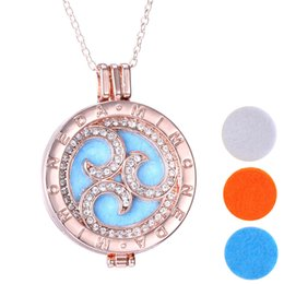 Wholesale Round Felt Circles - Gold Tone Aromatherapy Essential Oil Diffuser Clear Rhinestone Round Pendant Necklace with 60+5 cm chain and 3 felt pads 16N0116