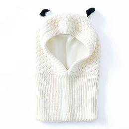 Wholesale White Crochet Scarf - Wholesale White Toddler Ear winter Windproof Hats and Scarf set Baby Earmuff Cap Crochet headgear soft warm Hat Knit baby winter beanies