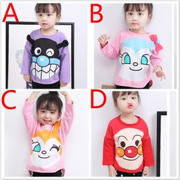 Wholesale Pre Fall - Girls Kids Cartoon T-shirts Tops Spring Fall Pre-school Cotton Anpanman Printing Long Sleeve Clothes Children Baby T-shirts Tops For 1-5T
