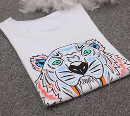Wholesale Design Clothes For Women - Tiger Head Brand Design T Shirt for Women Man Lovers Short Sleeve Tops Knitted Cotton Ladies Animal Print Round Neck Tees Summer Clothing