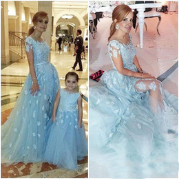 Wholesale Navy Blue Sequin Ribbon - Cheapest Light Sky Blue Applique Mother And Daughter Prom Dresses 2017 Short Sleeves Tulle Long Bridal Party Gowns