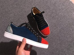 Wholesale Red Sole Rubber - Wholesale With Box Red Sole Shoes LowTop Suede Junior Skateboard Shoes RedBottoms Sneaker Louiflat Spikes Luxury Shoes 35-46