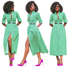 Wholesale Maxi Long Vintage Skirts - 2017 New Women Casual Green Geometric Pattern Print Button Square Collar Long Sleeve Front Split Beach Vocation Maxi Full-skirted Dresses