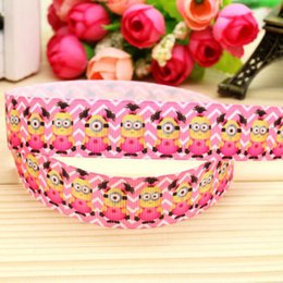 "Wholesale Minions Ribbon - 7 8"" 22mm Cartoon Chevron Baby Girl Minion Printed Grosgrain Ribbon for Hair Bow DIY Craft Event Decos 50 100Y lot A2-22-3002"