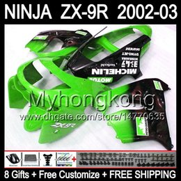 Wholesale Zx9r Body Kit - 8Gifts Body For Green black KAWASAKI ZX9R NINJA ZX-9R 2002-2003 ZX 9R Y18153 ZX9 R Free shipping+ 02 03 Green red 2002 2003 Fairing Kit