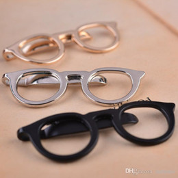 Wholesale Wholesale Cross Dressing China - 2017 Top Fashion Real Zinc Alloy Brooch Trendy Brooches For Pin Broche 's Shirt Suit Tie Clip Simple Business Dress Up Glasses
