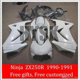 Wholesale Kawasaki Ninja Part - Pearl White Fairings Of Kawasaki Ninja 1991 1990 ZX250R 90 91 ZX 250R 90-91 OEM Quality Racing Bike Parts ABS Plastic Fairing Body Kit