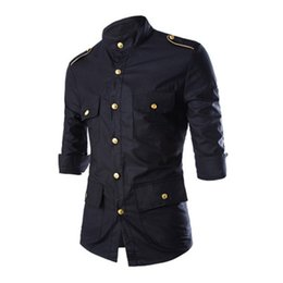 Wholesale Black Tunic Men - Wholesale-Men's Casual 3 4 Sleeve Shirts Single Breasted Gold Button With Epaulet Black Red Tunic Stand Collar Military Style Men