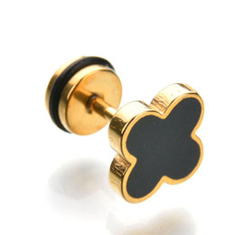 Wholesale Gold Clover Earrings - Factory Direct Never Fade 316L Stainless Steel Earrings 4 leaf Clover Stud Earrings For Christmas Gift