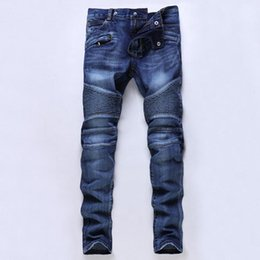 Wholesale Winter Skinny Jeans For Men - Hot Sale Designer Biker for Men Elastic Ripped High Quality Winter Warm Skinny Jeans Denim Brand Clothing Plus Size