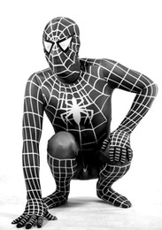 Wholesale Super Man Costume Party - New Black & white lycra 3D Printing Vemon Symbiote Spider-Man Costume Spiderman Halloween Party Dress Cosplay Zentai Suit