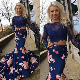 Wholesale Print Red Dresses For Evening - Navy Printed Flower Two Pieces Prom Dresses Long Sheer Jewel Neck 2k16 Backless Formal Gowns Sleeves Mermaid Evening Party Dress For Women