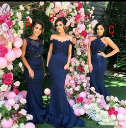 Wholesale Mix Bridesmaid - Mixed Styles Long Bridesmaid Dresses Mermaid Lace Applique Long Maid of Honor Wedding Guest Dresses Sold by Wholesalefactory