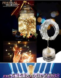 Wholesale White Submersible Led Light - 2016 NEW 2M 20leds many colors submersible led tiny micro wire string light coin battery operated led light string for wedding party MYY