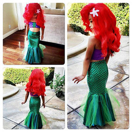 Wholesale Little Girls Cartoons - the little mermaid tail princess ariel dress cosplay costume kids for girl fancy green dress