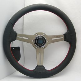 Wholesale Drift Steering - 14'' 350mm Black Real Leather ND Rally Tuning Drift Racing Steering Wheel