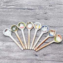 Wholesale Pictures Ceramic - Wholesale- 5Pcs New Fashion Vogue Natural Cute Cartoon Picture Ceramic Coffee Cocktail Milk Ice Cream Spoon Soup Spoons Teaspoon Tableware