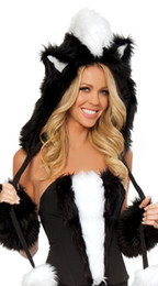 Wholesale Sexy Women S Animal Costume - Wholesale-DHL Free Shipping ML5252 Black White Strapless Sexy Animal Costumes For Halloween Uniform Women Sexy Costume Cosplay