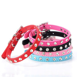 Wholesale Crystal Puppy Collars Free Shipping - 5 Colors Crystal Diamond Dog Collar Retractable Rhinestone Leather Pet Puppy Necklace Hot Sale Free Shipping
