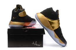 Wholesale Drawing Fabric - 2016 New Kyrie 2 Drew League Black Gold Sneakers men Kyrie2 Irving championship Los Angeles UnifiedMens Basketball Shoes Cheap USA size7~12