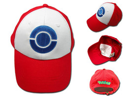 Wholesale Red Hat Videos - 2016 Poke Hat Ash Costume Cosplay Cap Hat Poke ASH baseball Hats High Quality Free Shipping
