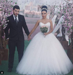 Wholesale Cheap Wedding Gowns China - 2016 Cheap Ball Gown Sweetheart Tulle White Princess Wedding Dresses Bling Sexy Wedding Gowns Bridesmaid From China 2016