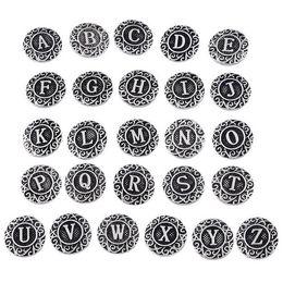 Jóias iniciais on-line-Antigo 26 pcs Initial A-Z Alfabeto Snaps 18mm Carta Snap Botão para Gengibre Snap Charm Bracelet Jóias