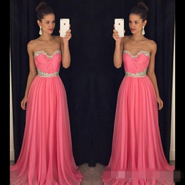 Wholesale Cheap Peplum Wedding Dresses - Cheap Bridesmaid Dresses 2016 Evening Dresses Sweetheart Ruffled Chiffon A Line New Arrival Wedding Party Dresses Evening Gown with Crystals