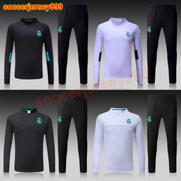 Wholesale Boy Xl Sweater - THAI QUALITY 17 18 Real Madrid soccer jersey Adult chandal football tracksuit 2017 2018 training suit Sportswear sweater jogging uniforms