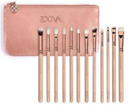 Wholesale Cases Brushes - High Qquality Zoeva 12 Pieces Rose Golden Complete Eye Set Eyeshadow Eyeliner Blending Pencil Makeup Brushes With Case