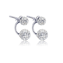 Wholesale Earrings Sterling Silver Round Ball - Austria Crystal Disco Shamballa Round Ball 925 Sterling Silver Ear Stud Earrings 1 Pair High Quality
