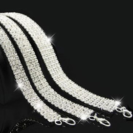 Wholesale Necklace Prom - Bridal Wedding Party Prom Multi-Row Stretch Rhinestone Choker Necklace Stretchy Elasticated Chokers Bling Necklaces Hot Sale