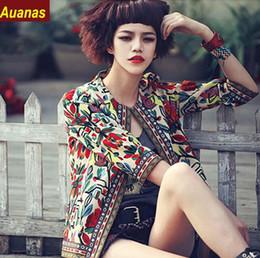 Argentina 2016 Ladies 'Vintage Floral Impreso Chaqueta de bordado de manga larga Outwear Open Stitch Coat Casual Brand Slim Chaqueta Suministro