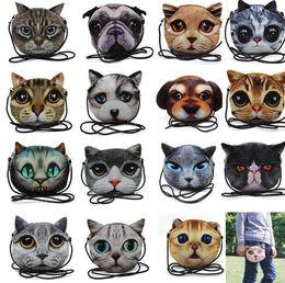 Wholesale Wholesale Messenger Bags For Women - Cute 3D Cat Bag Cartoon Messenger fashion 3D print animal face Handbag for women Crossbody Bag 3D Mini Shoulder Bag KKA2918